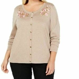 Karen Scott 0X Tan Cardigan L2O1-09